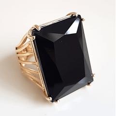 Anel cristal preto ônix retangular 18x25mm  modelo EMMA