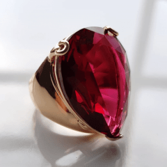 Anel cristal rosa turmalina formato gota 20x25mm - modelo Energy