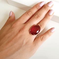 Anel cristal rosa turmalina oval 25x18mm - Modelo Dama
