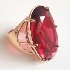 Anel cristal rosa turmalina - 30x20mm - Modelo Fiorela