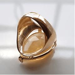 Anel cristal rutilado formato gota 25x20mm - modelo Energy