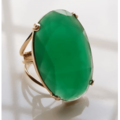 1-Anel cristal verde esmeralda - 30 x 20mm-  Modelo Dominique