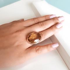 Anel cristal green gold oval - 25x18mm - Modelo  Desiree