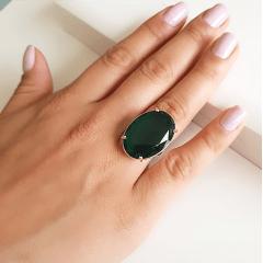Anel cristal verde turmalina oval 25x18mm - Modelo Dama