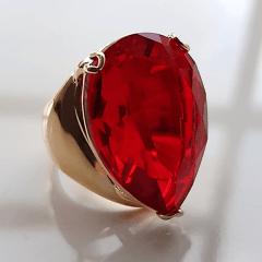 Anel cristal vermelho rubi formato gota 20x25mm - modelo Energy