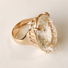 Anel cristal white oval 25x18mm - Modelo Dama