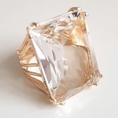 Anel cristal white - 2,0x2,5 cm - Modelo quadrado- EMMA