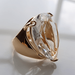 Anel cristal white formato gota 20x25mm - modelo Energy