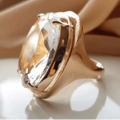 Anel cristal white- oval 25x18mm - Modelo Desiree