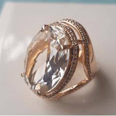 Anel cristal white oval 18X25mm , com e zircônias