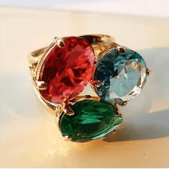 Anel de cristais multicolor  4
