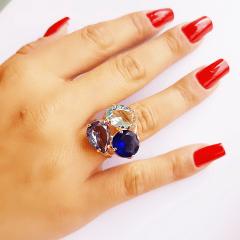 Anel de cristais multicolor  8