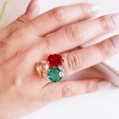 Anel cristais multicolor - modelo 3 pedras - rubi/turmalina