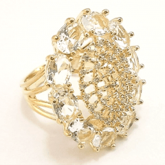 anel de cristais white e zircônias - linha Festa