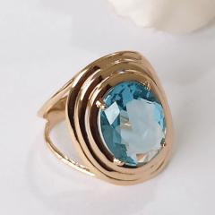 Anel cristal azul aquamarine oval 12x16mm com borda dourada