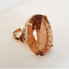 Anel cristal champanhe oval 18x25mm , lateral desenhada