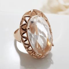 Anel cristal white oval 14x24mm , com borda vazada