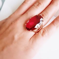 Anel cristal rosa turmalina oval 20x30mm ( numeração grande: 28 )