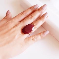 Anel pedra natural rubilita oval 20x30mm