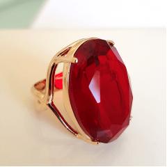 Anel cristal vermelho rubi oval 18x25mm - modelo 2 aros cruzados