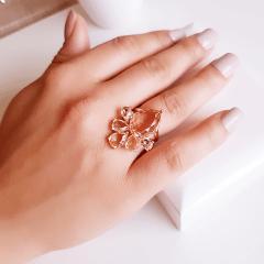 anel cristais champanhe - modelo Della Flora