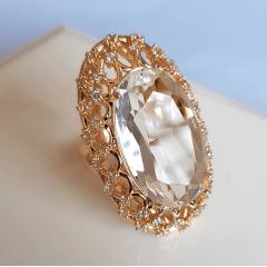 anel cristal white oval 15x25mm com borda trabalhada em zirconias