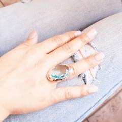Anel cristal azul aquamarine oval 18x25mm - linha Evidence