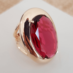 Anel Evidence de cristal rosa turmalina