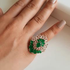 Anel linha Premium com brinco botão - verde esmeralda