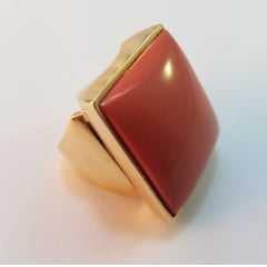anel resina coral quadrada