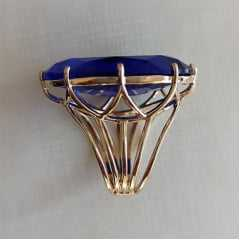Anel cristal azul safira oval 20x30mm - Modelo Victoria