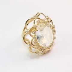 anel cristal white, pedra 15x20 , com detalhes em zircônia