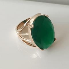 Anel cristal verde esmeralda oval 15x20mm - modelo 4 aros