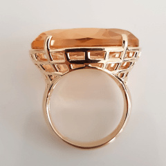 Anel cristal pêssego morganita oval 25x18mm - Modelo Xadrez