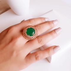 Anel cristal verde esmeralda redondo 16mm