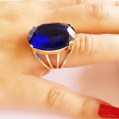 Anel cristal azul safira oval 18x25mm