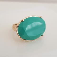 Anel cristal verde turquesa oval 25x18mm