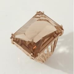 Anel cristal champanhe retangular 18x25mm