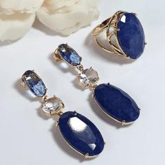 Anel pedral natural quartzo azul safira