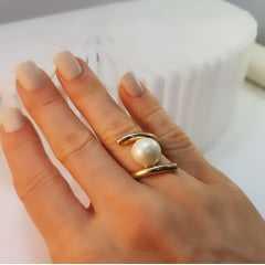 anel pérola shell mabe redonda