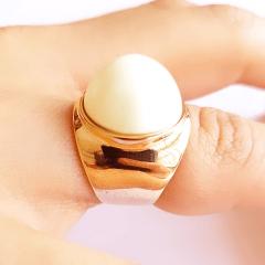 Anel pérola shell mabe redonda -  numeração pequena