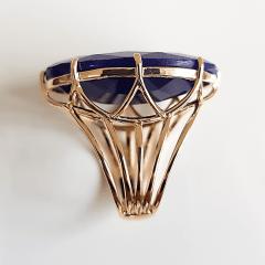 Anel quartzo azul oval 30x20mm - Modelo Victoria