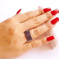 anel 5 aros com zircônias azul safira