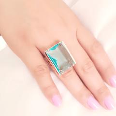 Anel cristal azul aquamarine retangular 18x25mm