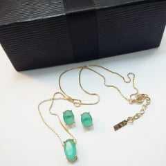 conjunto colar curto com pingente cristal oval e par de  brinco  botão oval