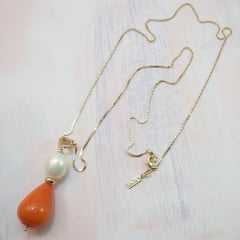 2-Conjunto colar comprido com pedra natural e brinco pérola shell