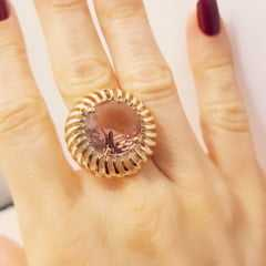 Conjunto de anel pedra redonda 16mm  com brinco - rosê pêssego