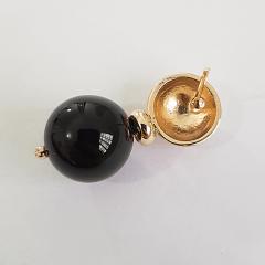 Brinco de bola shell preto ônix 14mm