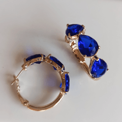 Brinco argola com cristais gota - modelo Anna - azul safira