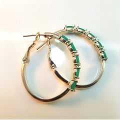 Brinco de argola cristais verde esmeralda - modelo Camilla